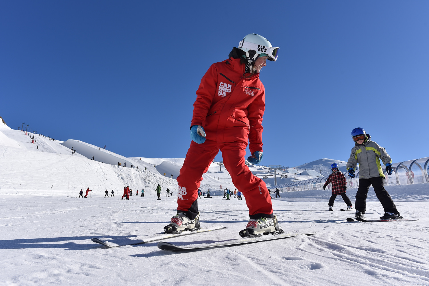 Cardrona ski snowboard kids lessons winter New Zealand ski school